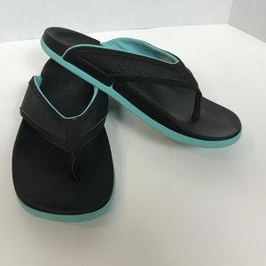 Adidas Black and Turquoise Athletic Sandal size 9
